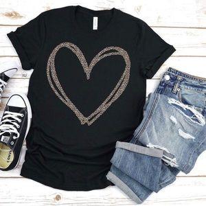 Pink Peplum Boutique Tops - Short sleeve leopard heart valentine tee T shirt